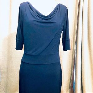 BR NWT NAVY 3/4 length sleeves low waisted dress